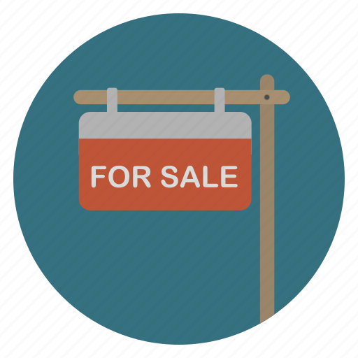 for sale, real estate, sign icon