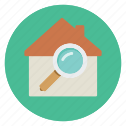 house, real estate, search icon