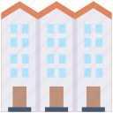 apartment, building, by, estate, home, real, side icon