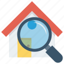 home, house, magnifier, real, searching icon