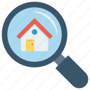 glass, home, house, magnifier, search icon