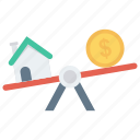 balance, dollar, house, property, scale icon