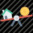 balance, dollar, house, property, scale