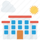 building, estate, real, sun, weather icon