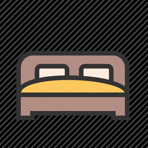 bed, bedroom room, home, mattress, pillow, sleep icon