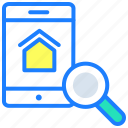 find, home, house, real estate, sale, search, search home icon
