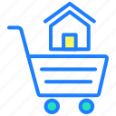 buy home, cart, house, property, real estate, shopping icon