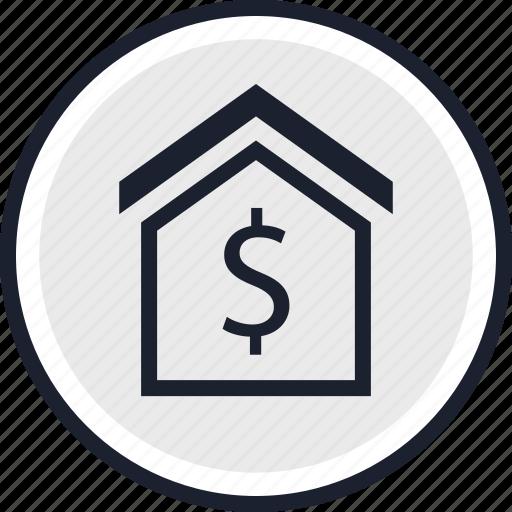 dollar, home, house icon