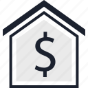 dollar, equity, home, sign icon