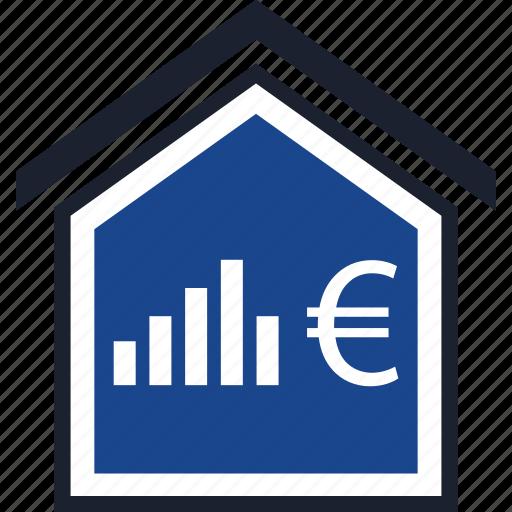 bars, euro, home, sign icon