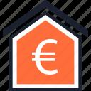 estate, euro, real, sign icon
