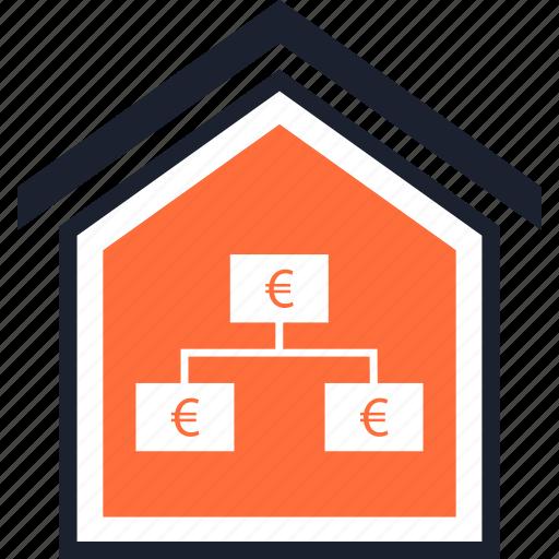 euro, home, strategy icon