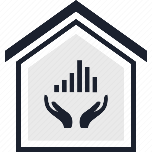 equity, hand, home icon