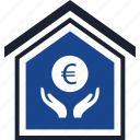 estate, euro, real, sign icon