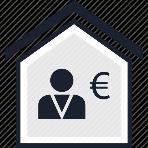 euro, home, think icon
