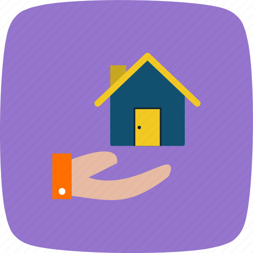 house in hand, house on hand, property icon
