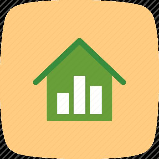 graph, house, statistics icon