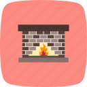 chimney, fire place, flame icon