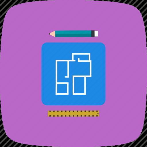 blueprint, map, new house plan icon