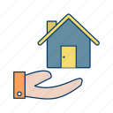 cleaning service, house, house hands, house hold, house in hands, house on hand, lawn icon