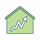 graph, house, house icon, housing market, money house, positive graph icon