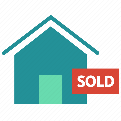 home, house, label, property, real estate, sign, sold icon