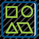 game, multimedia, play, playground, puzzle, tangram, video icon