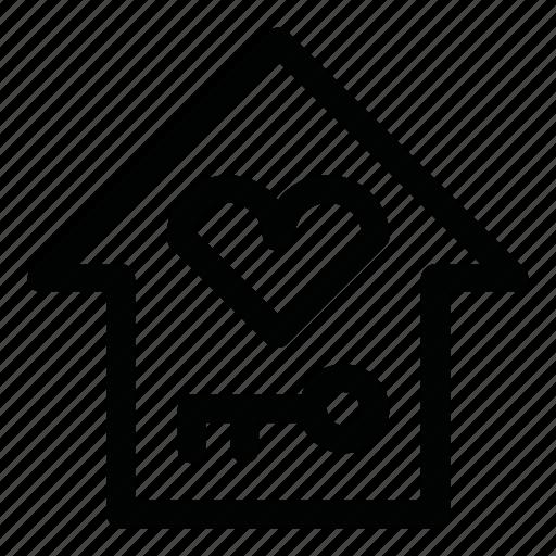 estate, house, key, like, love icon