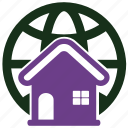 accommodatio, apartment, global, house icon