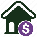dollar, house, property value icon