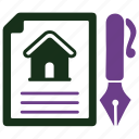 agreement, loan papers, property document icon