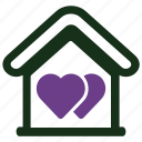 favourite, heart, house icon
