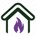 fire, flame, home insurance icon