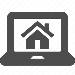 home, house, laptop, online, real estate icon