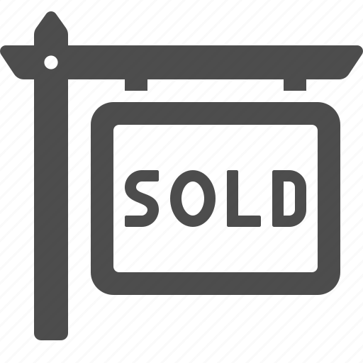 home, house, real estate, sign, sold icon