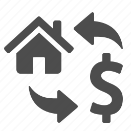dollar, exchange, home, house, money, real estate, transaction icon