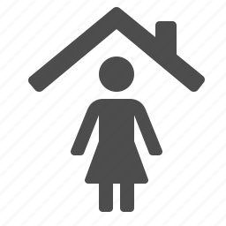home, house, people, real estate, roof, woman icon