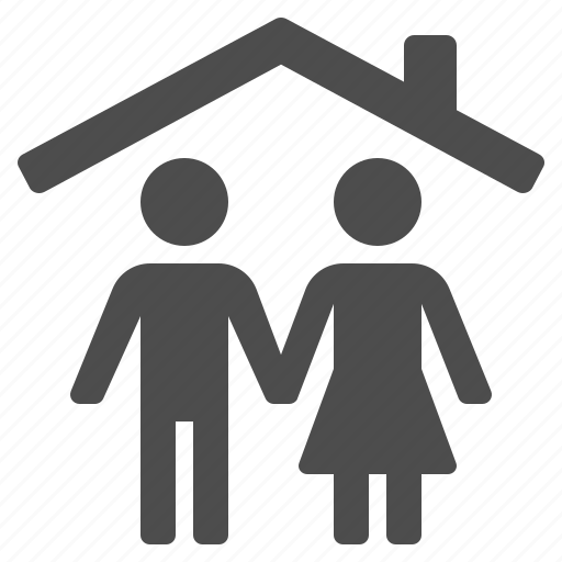 couple, home, household, husband, people, roof, wife icon