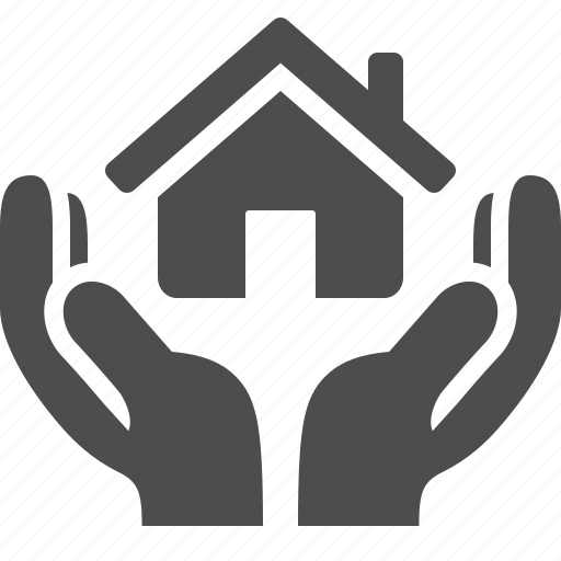 giving, hand, hands, home, house, real estate, security icon