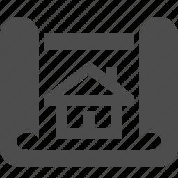 architect, blueprint, house, plan icon