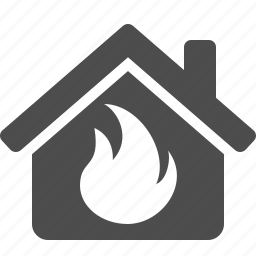 danger, fire, flame, home, house, insurance, real estate icon