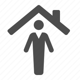 home, house, man, real estate, roof icon