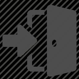 arrow, door, enter, open icon