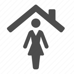 home, house, real estate, roof, woman icon