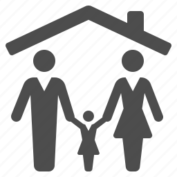 child, family, home, house, man, roof, woman icon