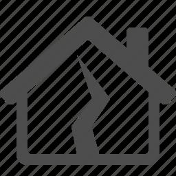 crack, earthquake, home, house, insurance, real estate icon