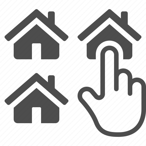 finger, hand, home, house, pick, pointer, real estate icon