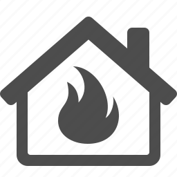 burning, fire, flame, home, house, insurance, real estate icon