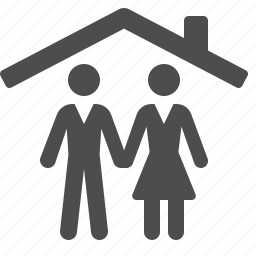 family, home, house, man, real estate, woman icon