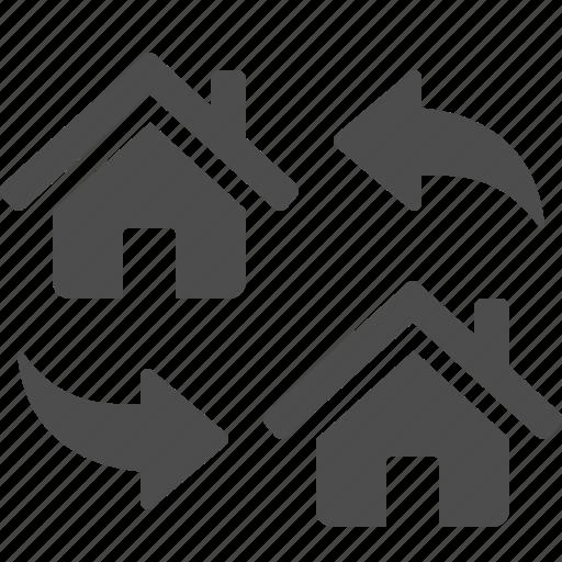 arrows, exchange, house, real estate icon